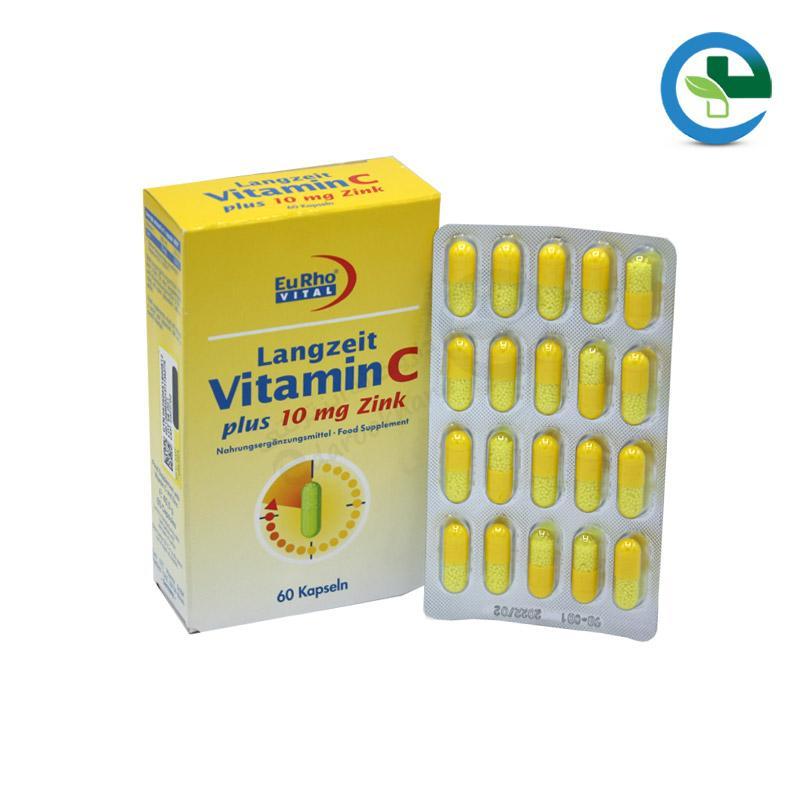 كپسول ویتامین C + زینك (۱۰ میلی گرم) یوروویتال ۶۰ عدد