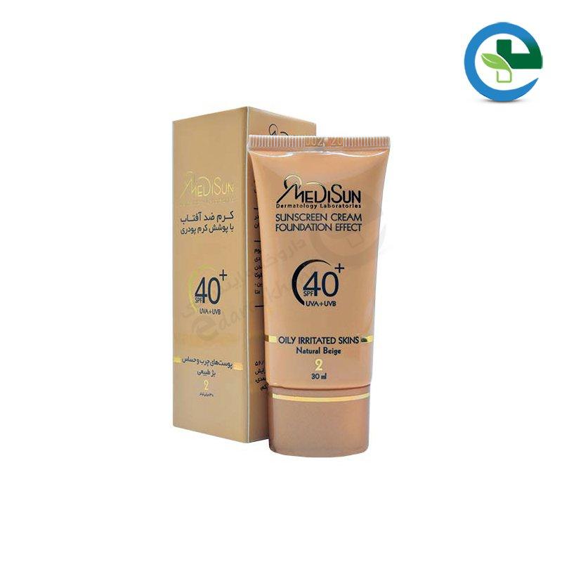 كرم پودر حاوی ضد آفتاب برای انواع پوستSPF 40 مدیسان